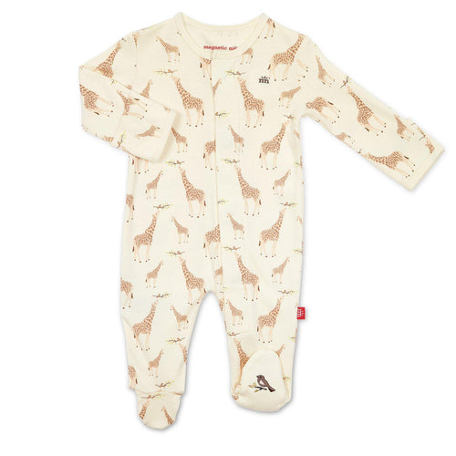 Cream Jolie Giraffe Organic Cotton Magnetic Footie