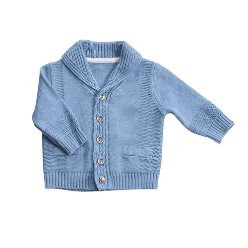 Shawl Collar Cardigan- Blue Heather
