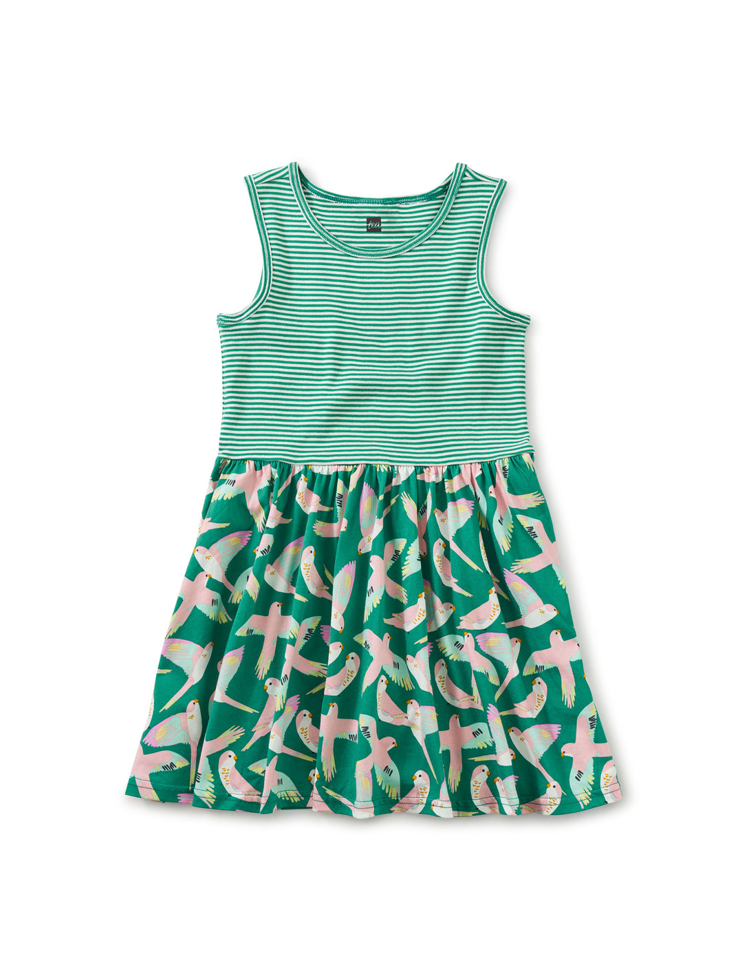 Print Mix Skirted Dress - Parrot Polka in Viridis