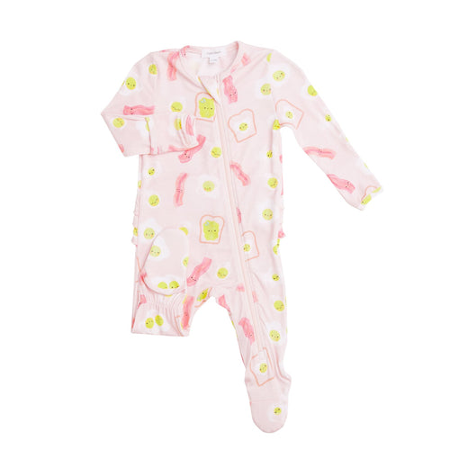 Bacon And Eggs Zipper Footie Pink