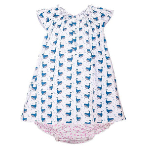 Henley Dress and Bloomer - Fin Whale on White