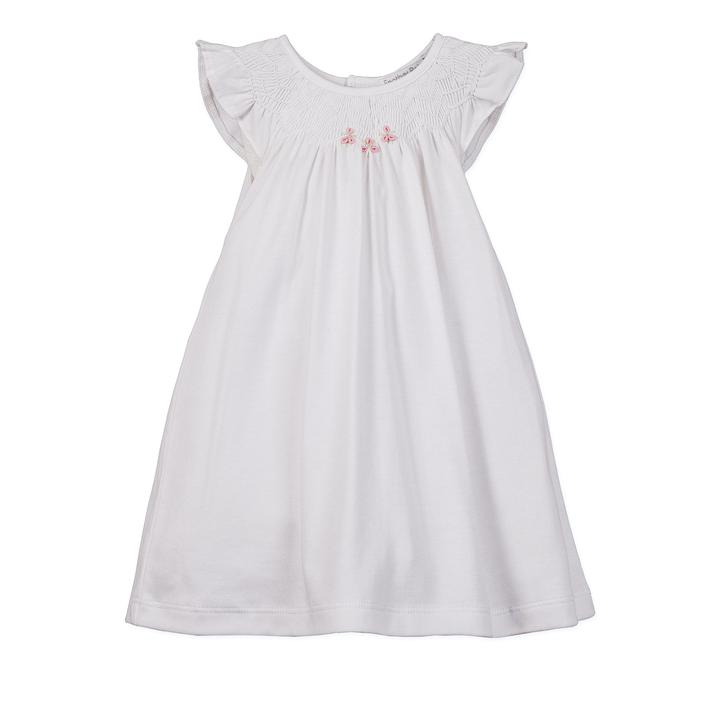 Hand-smocked Knit Dress and Bloomer - White Solid