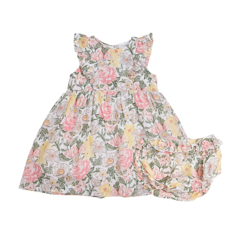 Traditional Floral Dress and Diaper Cover Multi
