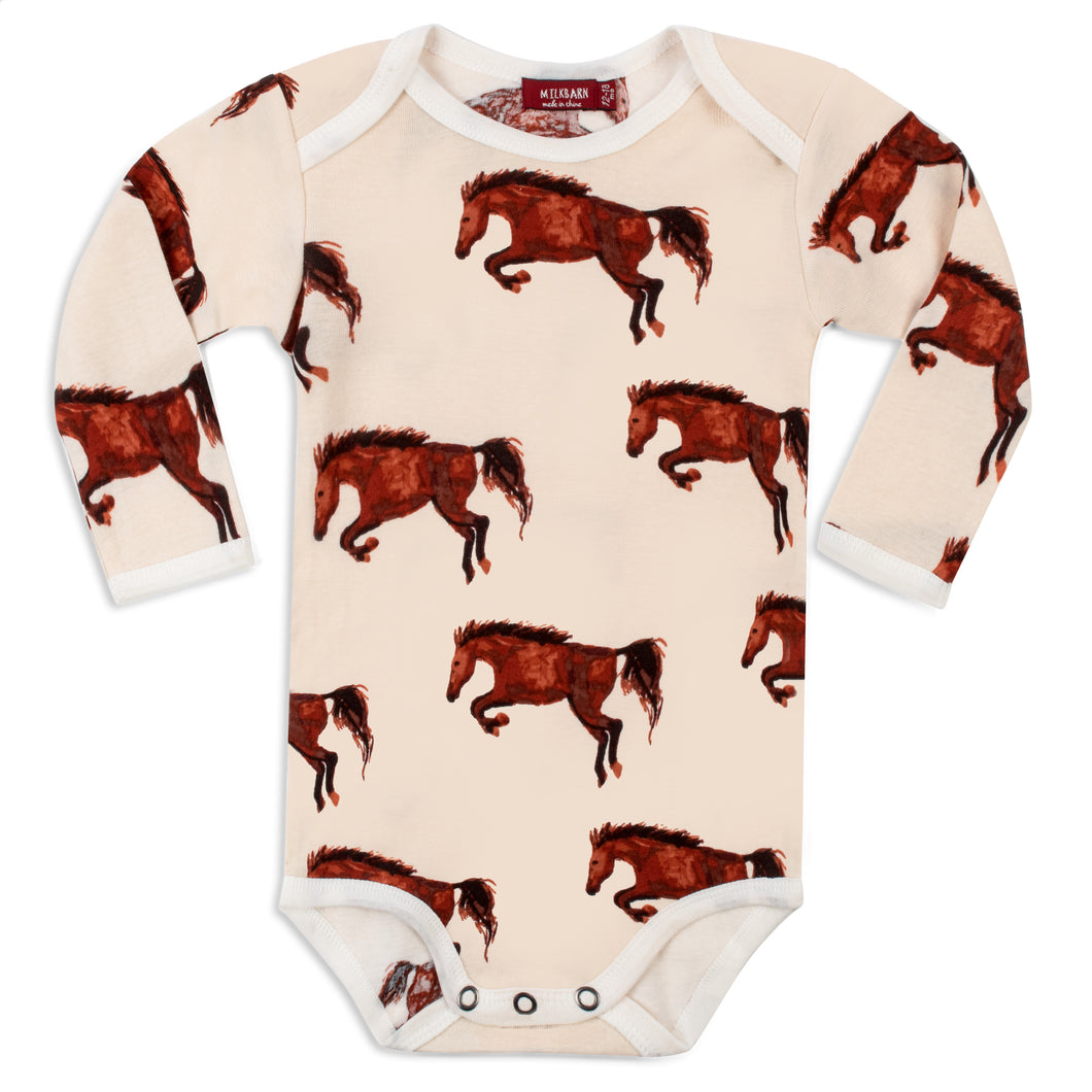 Natural Horse Organic Long Sleeve Onesie