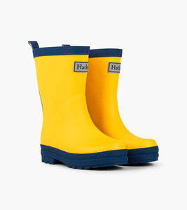 Yellow & Navy Matte Rain Boots