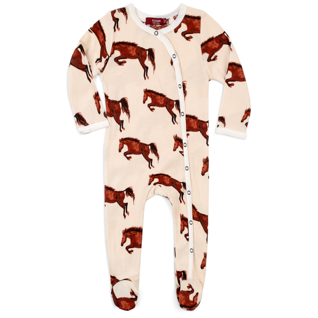 Natural Horse Organic Footed Romper