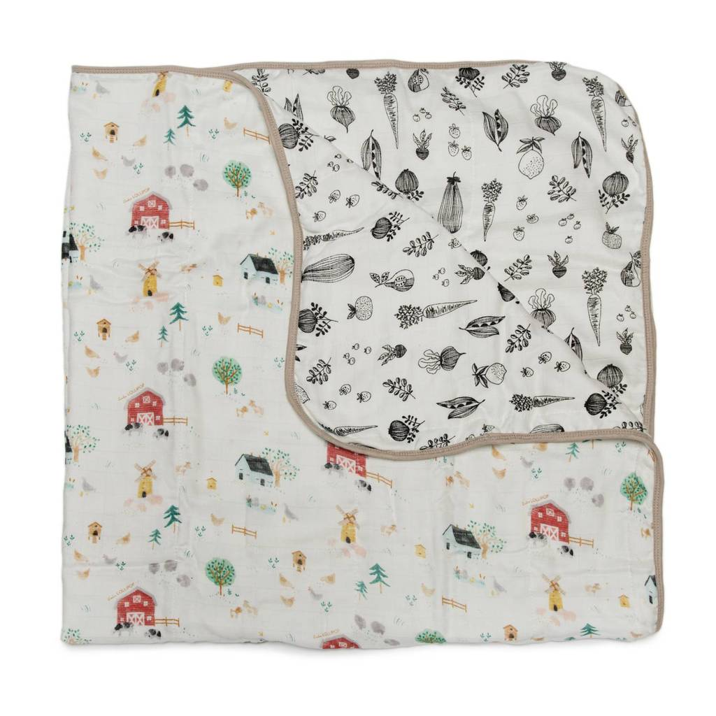 Farm Animal Muslin Quilt Blanket