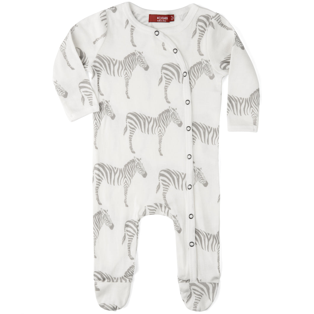 Zebra Organic Footed Romper