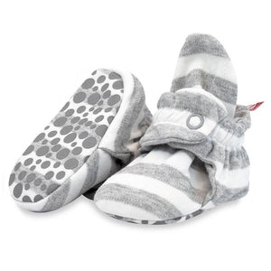 Organic Stripe Gripper Bootie Heather Gray/ White