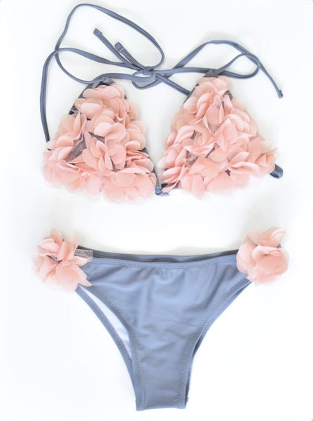 GISELLE' Traingle 3D Flower Bikini Set - Grey - AJ Voyage