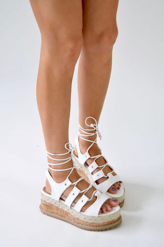 HERE I AM Cork Espadrille Gladiator Sandals - White PU - AJ Voyage - 5