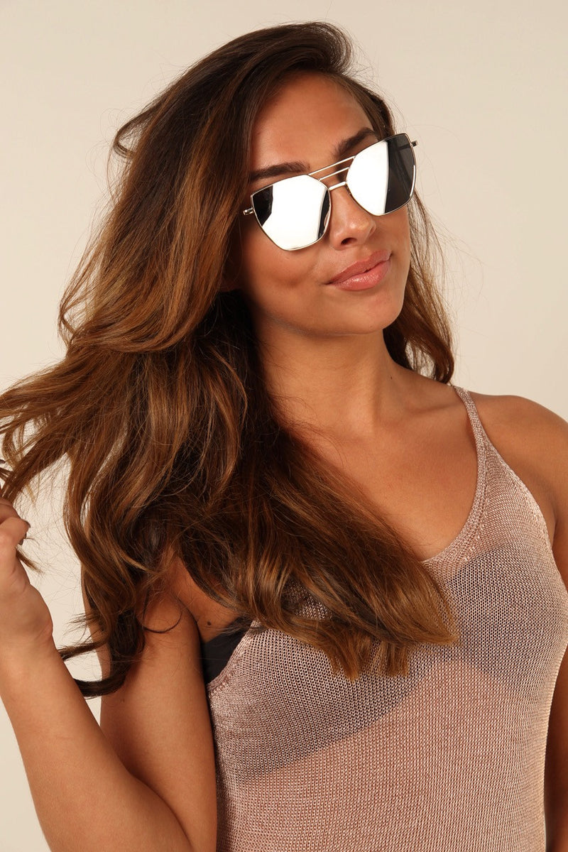 PARIS rose Tinted Gold Mirrored Sunglasses - 1