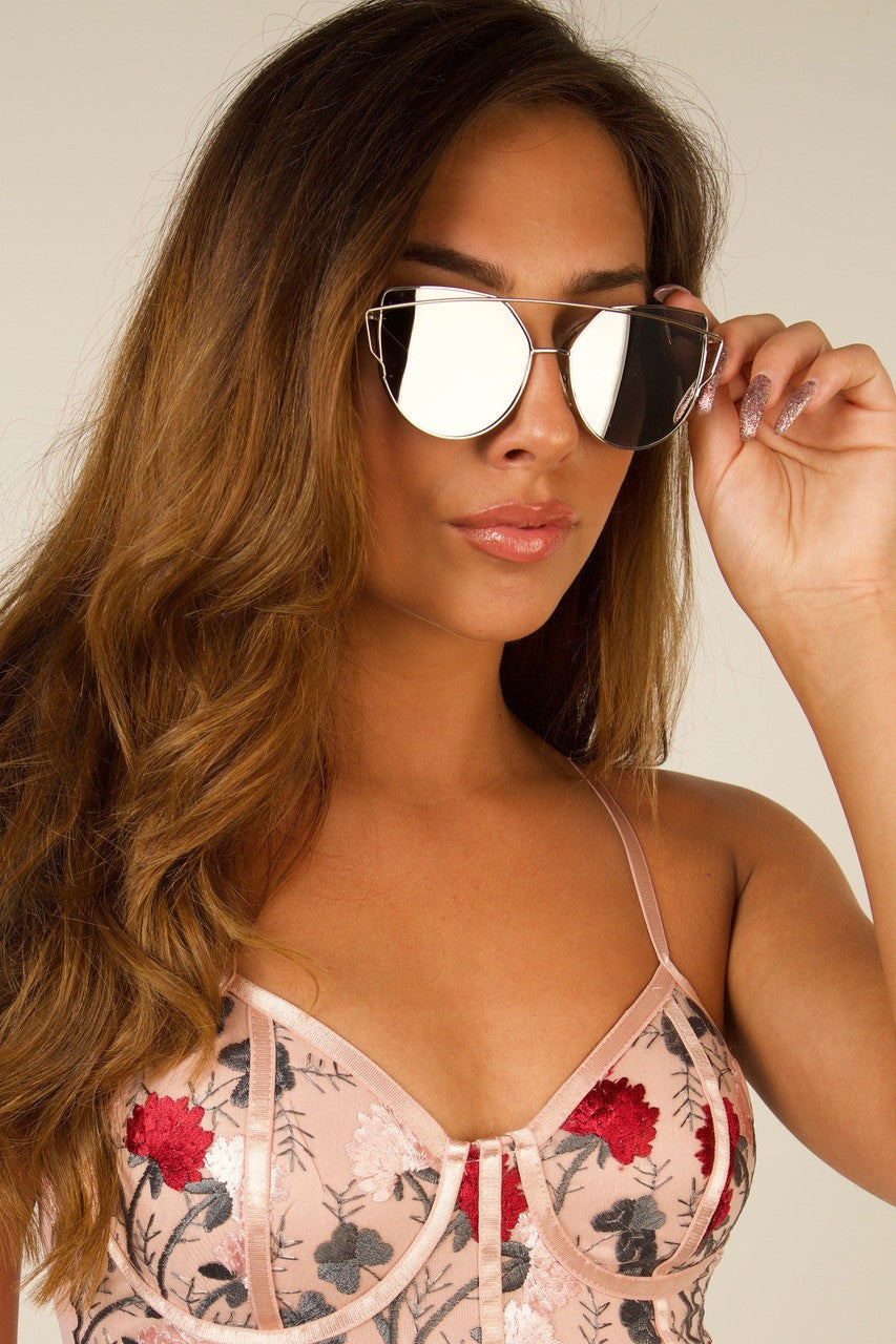 OUT THERE Vintage Frame Silver Mirrored Sunglasses