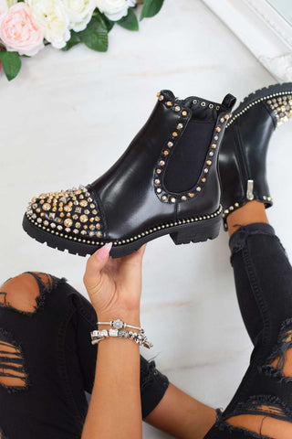 ADORA Spike Studded Chelsea Ankle Boots - Black - 1