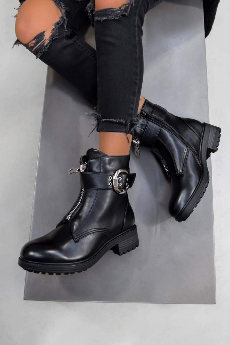 ALESSIA Zip Front Biker Ankle Boots - Black PU - 1