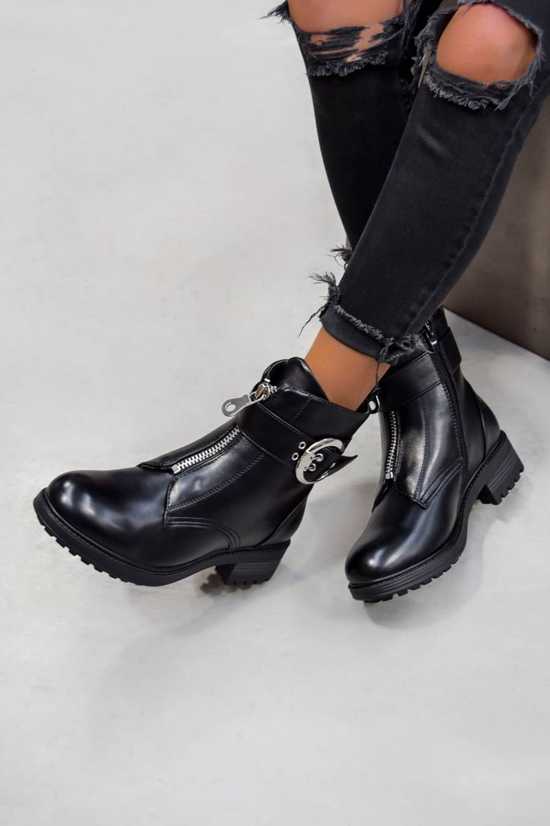 ALESSIA Zip Front Biker Ankle Boots - Black PU - 2