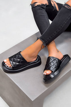 ALETA Chunky Quilted Sandals - Black