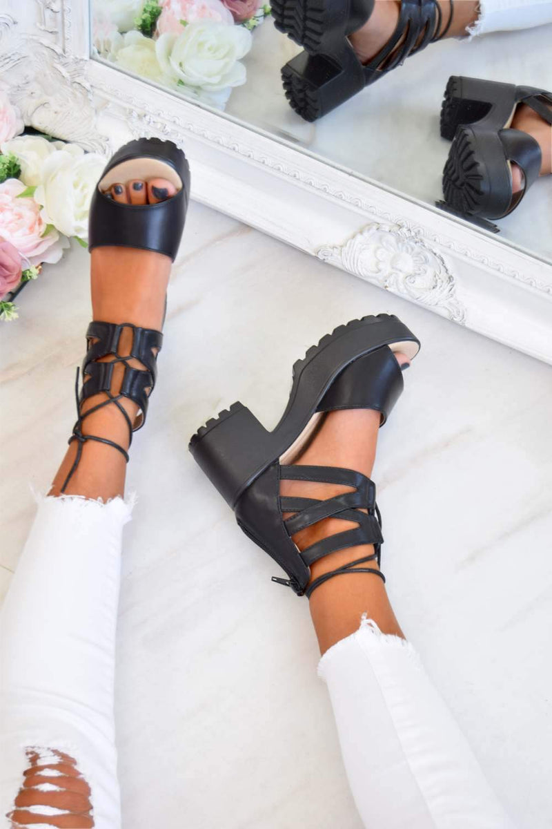 ALEXA Lace Up Cleated Sole Block Heel Sandals - Black PU - 2