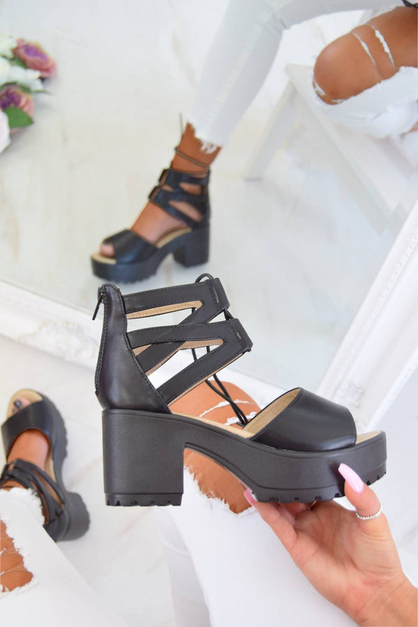 ALEXA Lace Up Cleated Sole Block Heel Sandals - Black PU - 1