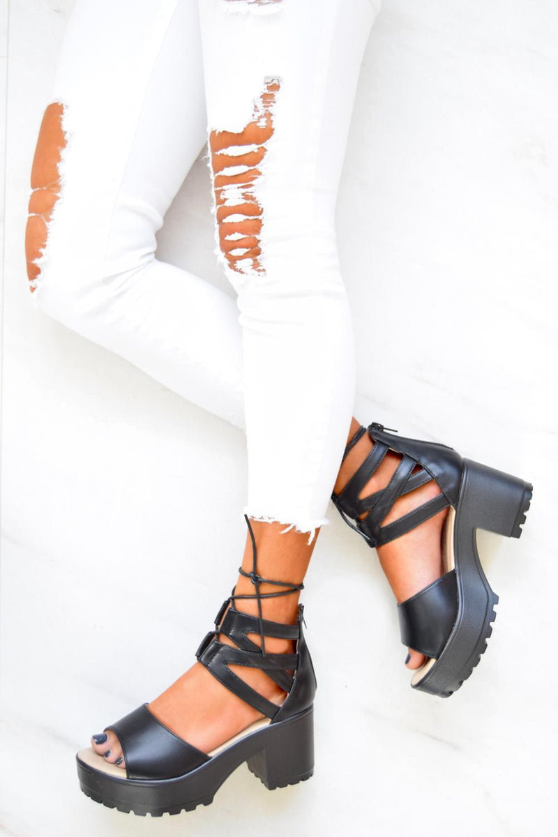 ALEXA Lace Up Cleated Sole Block Heel Sandals - Black PU - 3