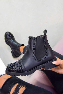 ALIAH Spike Studded Chelsea Ankle Boots - Black - 1