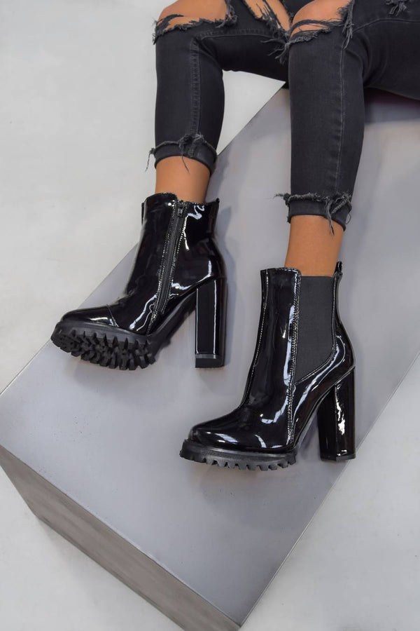 ALICIA Cleated Sole Ankle Boots - Black Patent - 2