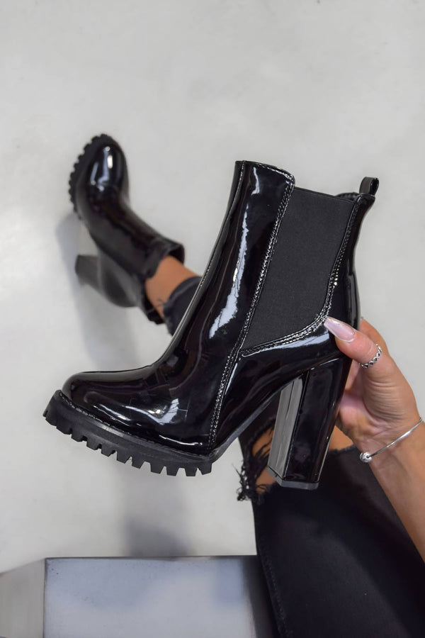ALICIA Cleated Sole Ankle Boots - Black Patent