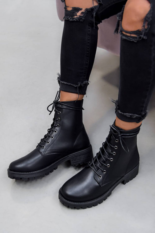 ANA Lace Up Biker Ankle Boots - Black PU - 1