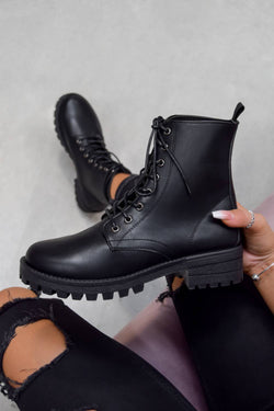ANA Lace Up Biker Ankle Boots - Black PU