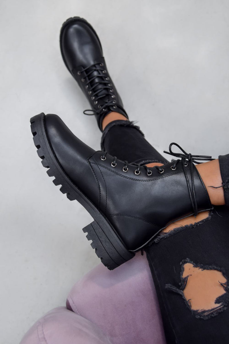 ANA Lace Up Biker Ankle Boots - Black PU - 2