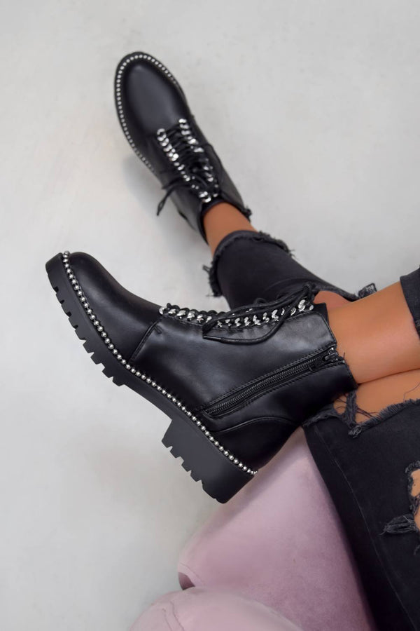 ANA Studded Lace Up Ankle Boots - Black PU - 1