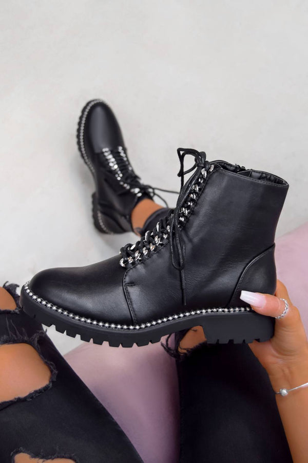 ANA Studded Lace Up Ankle Boots - Black PU