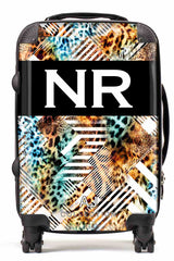 Personalised Initial Suitcase - Leopard Geo Print - Small Cabin Luggage