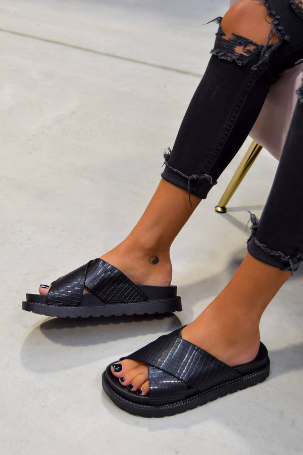 ANYA Chunky Slider Sandals - Black Snake - 1