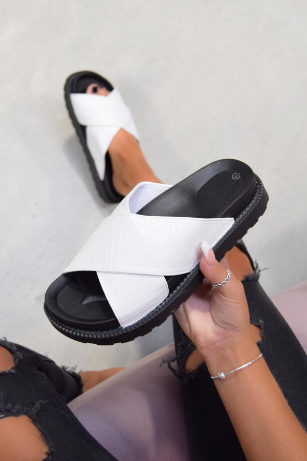 ANYA Chunky Slider Sandals - White Snake