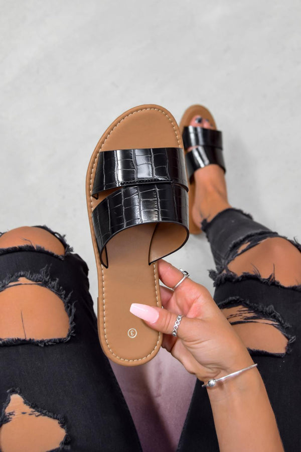 AYISHA Crock Print Sandals - Black