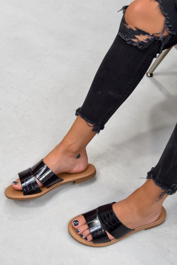 AYISHA Crock Print Sandals - Black - 1