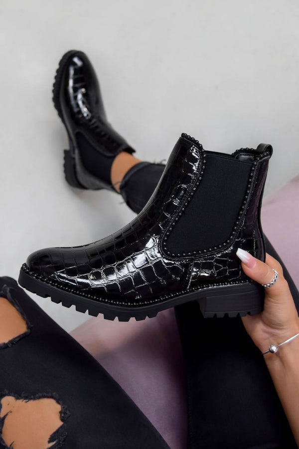 AYSHA Chelsea Studded Ankle Boots - Black Croc