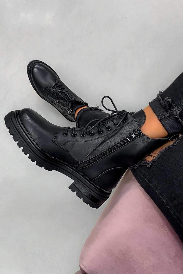 BACK TRACK Lace Up Studded Biker Ankle Boots - Black PU - 1