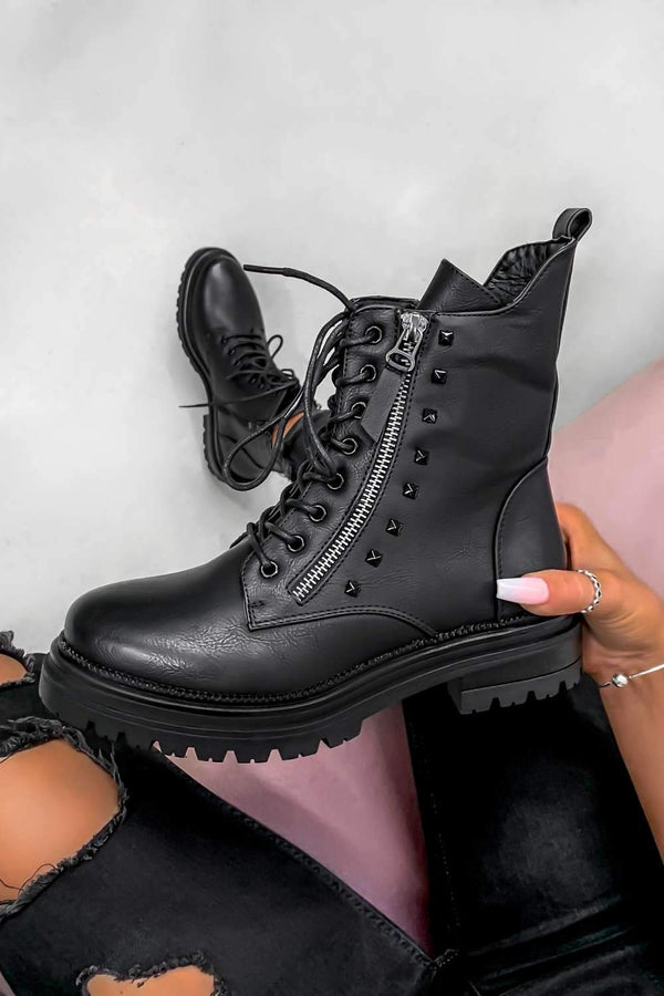 BACK TRACK Lace Up Studded Biker Ankle Boots - Black PU
