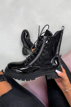 BACK TRACK Lace Up Studded Biker Ankle Boots - Black Patent