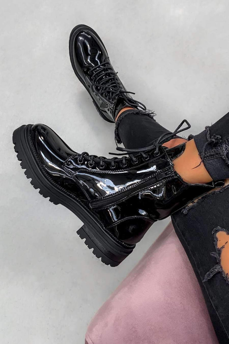 BACK TRACK Lace Up Studded Biker Ankle Boots - Black Patent - 1