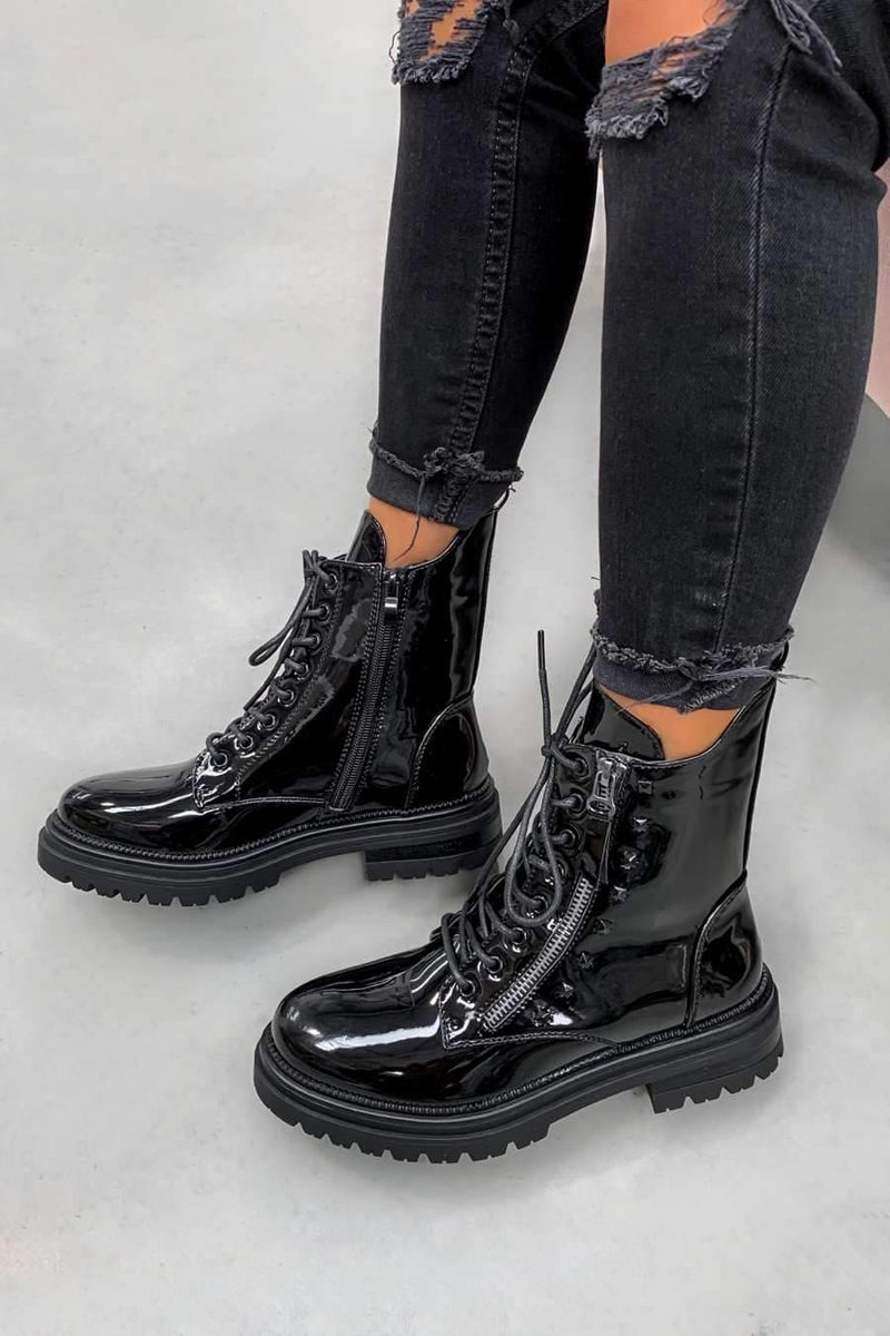 BACK TRACK Lace Up Studded Biker Ankle Boots - Black Patent - 2