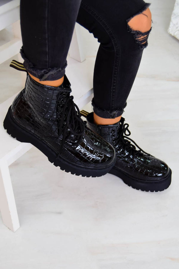 BACK TRACK Chunky Platform Lace Up Ankle Boots - Black Croc - 1