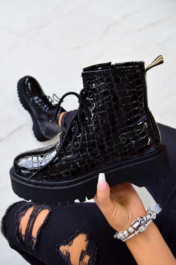 BACK TRACK Chunky Platform Lace Up Ankle Boots - Black Croc