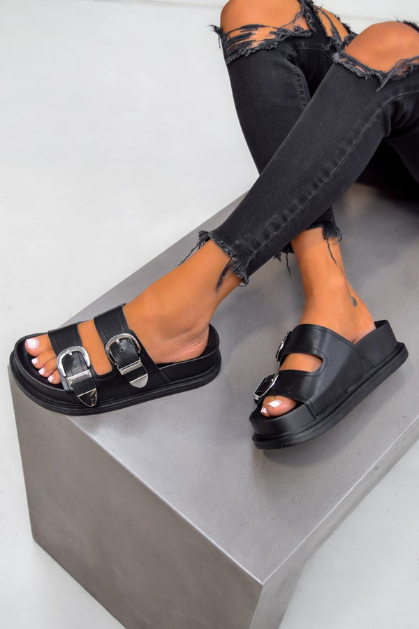 BOSSA Chunky Buckle Sandals - Black - 1