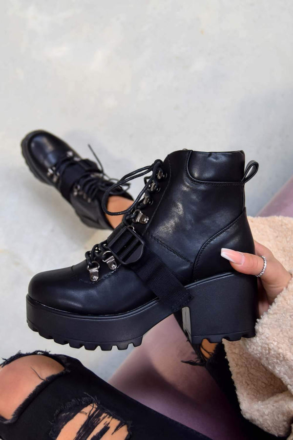 BOSS IT Chunky Platform Lace up Biker Boots - Black