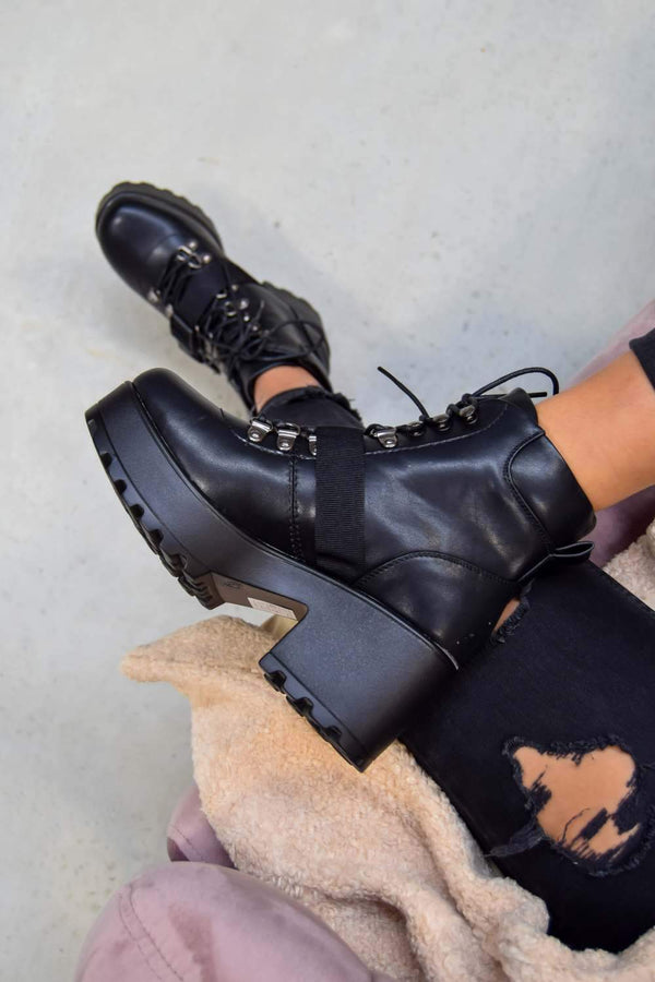 BOSS IT Chunky Platform Lace up Biker Boots - Black - 1