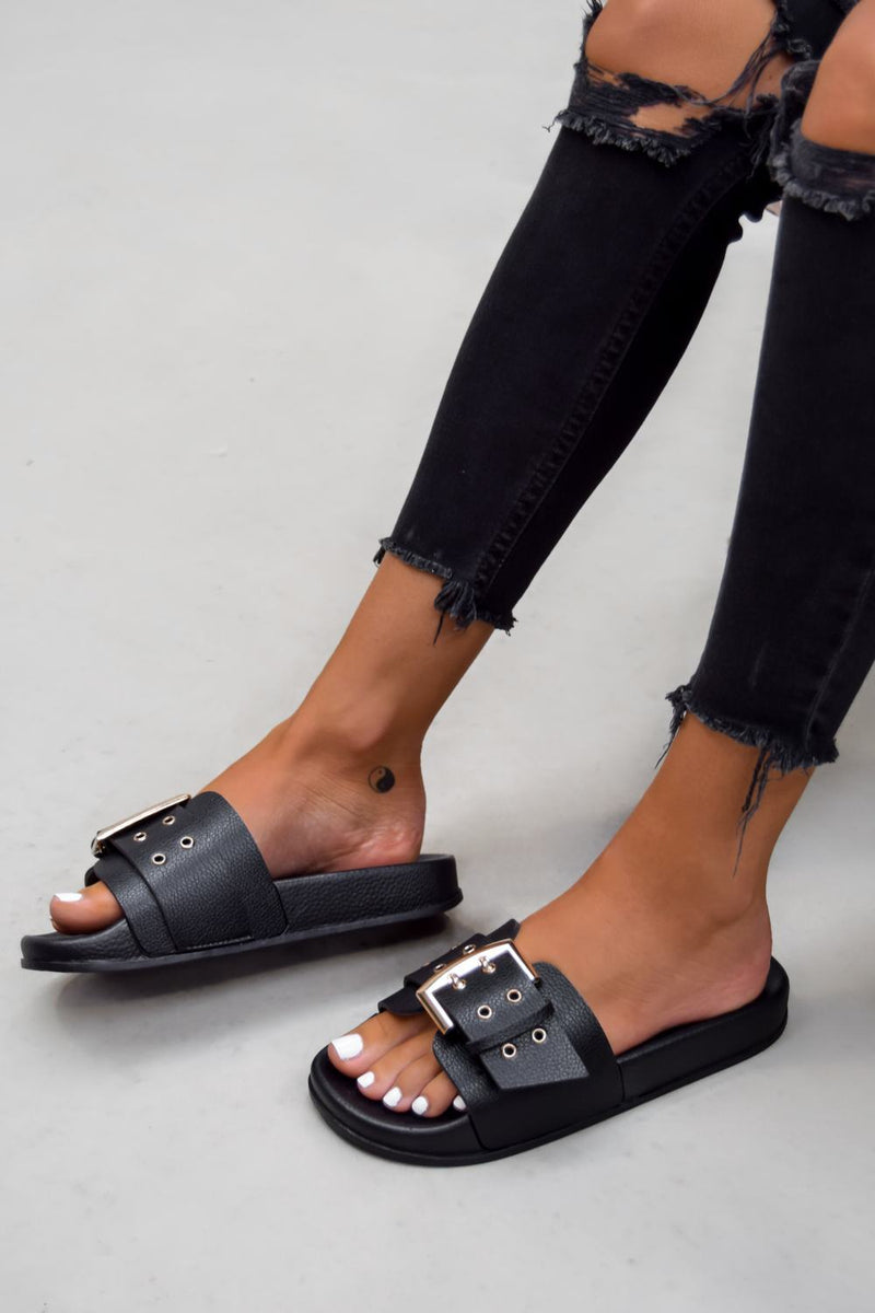 BRING IT Chunky Buckle Sandals - Black - 1