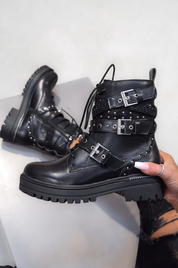 BUCKLE UP Chunky Buckle Ankle Boots - Black Pu